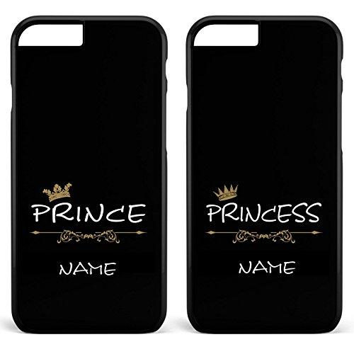Doppelhülle 'Prince & Princess' - Handyhülle für Prinzen und Prinzessinen | Schutzhülle | Case, Handy:Apple iPhone 5 / 5S / SE, Farbe & Namen:Schwarze Hülle + Namen Schwarze Hülle / Schwarzes Motiv + Namen