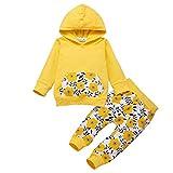 Kind Kleinkind Jungen Mädchen Mit Kapuze Langarm Sunflow Print Tops + Hosen Outfit Set