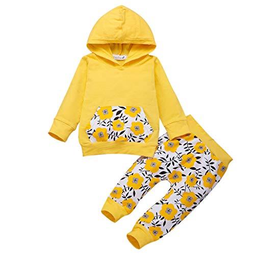 feiXIANG Hoodie Tops Hosen Set Jungen Mädchen Langarm Kapuzenpullover Oberteil Mit Kapuze Blumendruck Outfit für Kinder (Gelb,80)