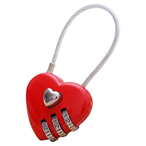 Free Fisher Candado en Forma de Corazón Rojo Love Lock Combinación de 3 dígitos con Alambre de Acero para Bolsa de Equipaje Maleta Aduana Gabinete