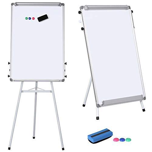 Yaheetech Flipchart, Whiteboard mit Ständer,weiß für Büro, verstellbar,60 x 90 cm mit Alurahmen klappbar