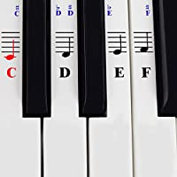 Piano Stickers for 49/61/ 76/88 Key Keyboards - Transparent and Removable with Free Piano Ebook