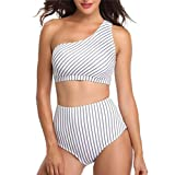 Xuthuly Damen Sexy Casual Lady Striped EIN Schulter-Split-Badeanzug Gepolsterter BH Hohe Taille Bademode Beachwear