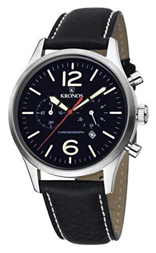 KRONOS - Pilot Chronograph Black 797.55 - Reloj de Caballero de Cuarzo, Correa de Piel Negra, Color...