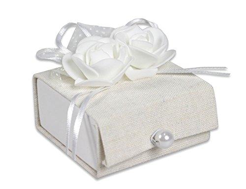Vetrineinrete® scatoline portaconfetti 36 pezzi per matrimonio comunione scatole per confetti bomboniere segnaposto in tessuto avorio chiusura perla 302050 p27