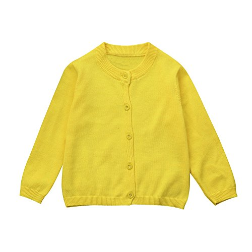 Baby Junge Kleidung Outfit, Honestyi Kleinkind Kind Jungen Mädchen Kleidung Gestrickte Bunte Feste Pullover Strickjacke Mantel Tops (Gelb,100)