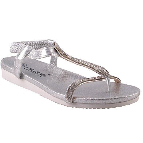Unze Für Frauen Turfi 'Flat verschönerte Sommer Sandalen - 3150-3 Silber