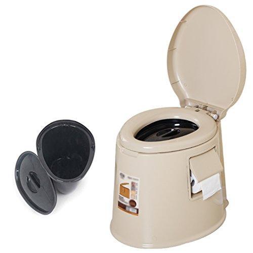 MyAou-commode Toilettes âgées Chaise Portable Toilettes Toilettes Plastique (Couleur : Beige, Taille : A)