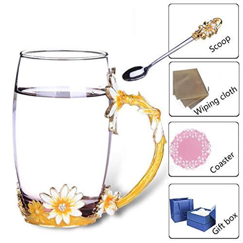 Vea-de tazze da caffè in vetro tazze 3d flower elegante fancy cappuccino set di piattini da tè con cucchiai bella san valentino, l per casa, ristoranti, display