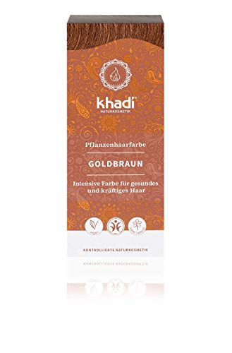 khadi Pflanzenhaarfarbe Goldbraun 100g I Haarfarbe für glänzendes und goldenes Braun I Naturhaarfarbe 100{1fd51cc7e87718316f0c1aacd92d8c382a518cfb7defc68808205366c86e00ef} pflanzlich