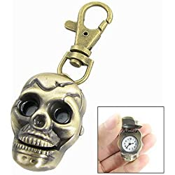 Bronze Tone Skull Shape Pendant Key Ring Quartz Watch