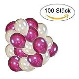 100 Perlmutt Luftballons - Helium Geeignet - Qualitätsware - Ballons für Hochzeit, Valentinstag, Geburtstag UVM. (100, Perlmutt - Lavendel / Ivory)