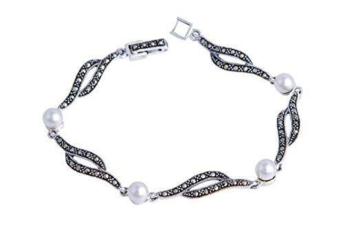Bracciale in argento Sterling  e marcasite con maglie Wave e perle
