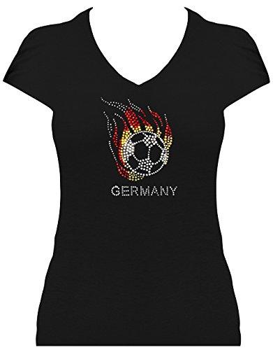 Premium WM Shirt Germany Damen Fussball Deutschland mit Strass statt Trikot WM 2018, T-Shirt, Grösse XL, schwarz - Strass-trikot