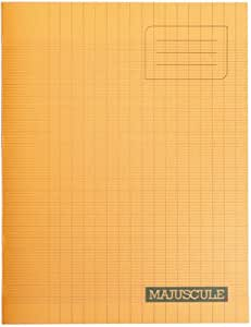 Majuscule-cahier – Bloc Notes – Grand carreaux papier – 17 x 22 cm – 48 pages – 90 g/m² – Orange avec couverture polypropylène