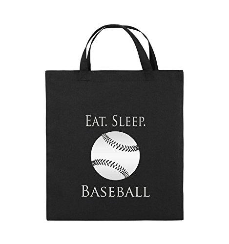 Comedy Bags - EAT. SLEEP. BASEBALL - BALL - Jutebeutel - kurze Henkel - 38x42cm - Farbe: Schwarz / Silber Schwarz / Silber