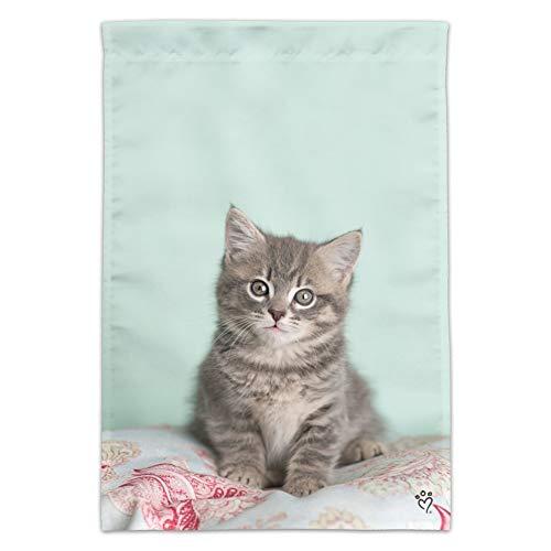 GRAPHICS & MORE Manx Katzenbett/Katzenbett, sitzend, mit Flagge (Stange Nicht im Lieferumfang enthalten)