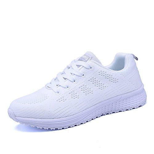PAMRAY Damen Fitness Laufschuhe Sportschuhe Schnüren Running Sneaker Netz Gym Schuhe Schwarz Blau Grau Weiß Weiß 42