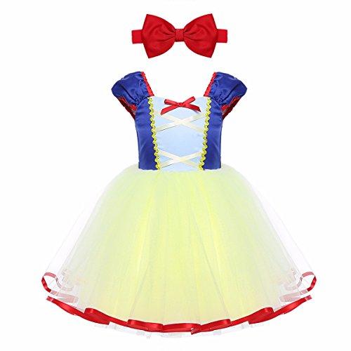 Tiaobug Schneewittchen Kostüm Baby Mädchen Prinzessin Kleid Märchen Cosplay Karneval Fasching Halloween Kostüm, Blau & Gelb, 86-92 - Mädchen Schneewittchen Kostüm