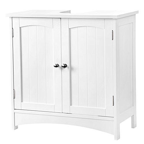SONGMICS VASAGLE Waschbeckenunterschrank Unterschrank Badezimmerschrank 2 Türen mit Verstellbarer Einlegeboden BBC01WT, Holz, Weiß, 60 x 60 x 30 cm (B x H x T) -
