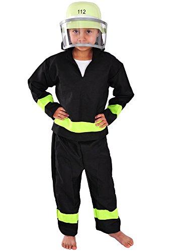 Kinder Kostüm Sven - Feuerwehr Mann mit Helm Kinder Kostüm 98 - 104 für Fasching Karneval Feuerwehrmann Feuerwehranzug