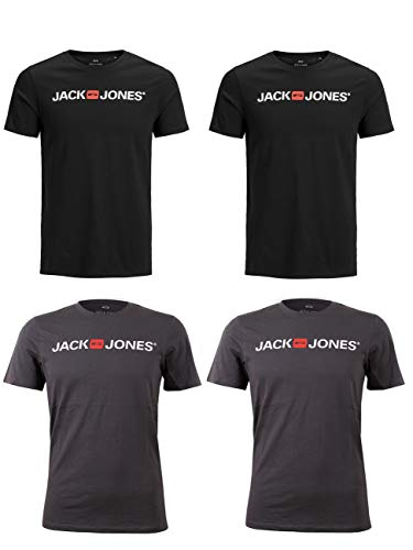JACK & JONES 4er Pack Herren T-Shirt JJEPROLOG Tee SS Crew Neck, Größe:XXL, Farbe:2X Black 2X Asphalt - Xxl Jack