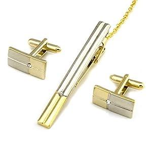 HONG-Accessories Herren Krawattenklammer Manschettenknöpfe Set