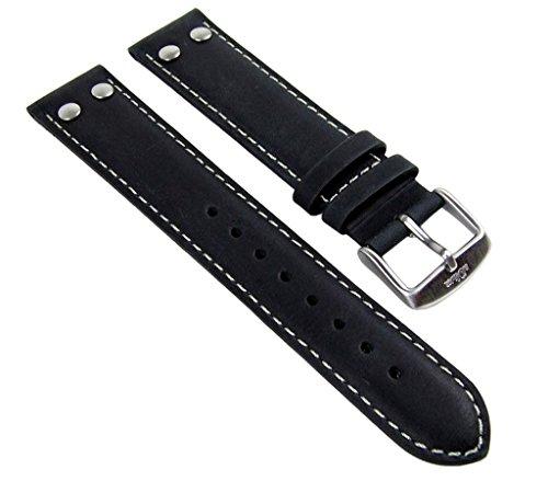 Ersatzband Uhrenarmband Leder Band 20mm schwarz passend zu s.Oliver SO-1903-LQ