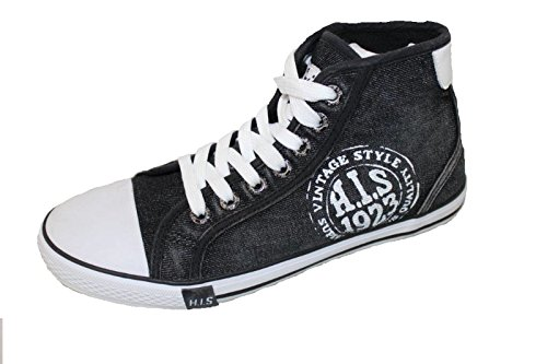 H.I.S Schuhe 151-007 red canvas jeans grey white Gr. 36 - 46 (39, Washed Black Jeans) (Canvas Denim Schuhe)