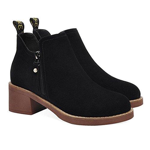 Intorno al primo lato con gli stivali da donna stivali di pelle cerniera laterali stivali impermeabili black