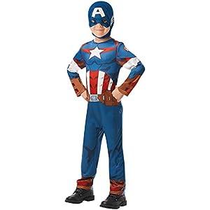 Rubies 640888 - Disfraz infantil oficial de Marvel Avengers Capitán América, 9 a 10 años, 140 cm de altura, talla única