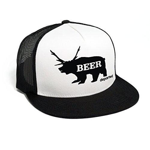 DEPARTED Herren Mesh Trucker Hat mit Print/Aufdruck - Snapback Cap - No. 37, Black/White