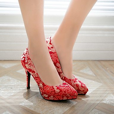 Zormey Les Talons Des Femmes Printemps Automne Chaussures Formelle Mariage Soie &Amp; Robe De Soirée Satin Talon Aiguille Rouge Fleur US10.5 / EU42 / UK8.5 / CN43