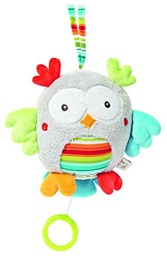 Fehn 086294 Spieluhr Eule / Aufzieh-Spieluhr mit herausnehmbarem Spielwerk zum Aufhängen, Kuscheln und Greifen, für Babys und Kleinkinder ab 0+ Monaten