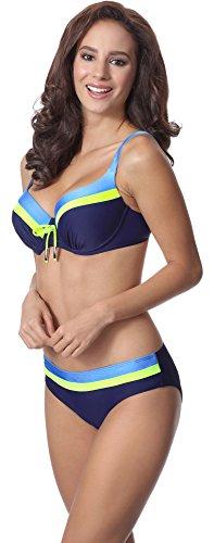 Merry Style Damen Bikini Set P62378TSG Navy/Zitrone/Blau