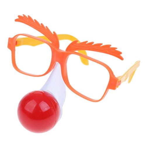 MagiDeal Lustige Zirkus Clown Dekobrille Partybrille Sonnenbrille mit Rote Nase für Feier Party Geburtstag Weihnachten Neujahr - Halloween Clown-witze Für