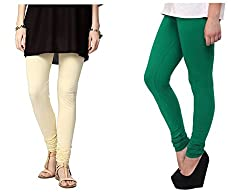 Roop Trading Co girls cotton material, churidar full length legging style,cream-darkramagren colour size available- XL,XXL,XXL