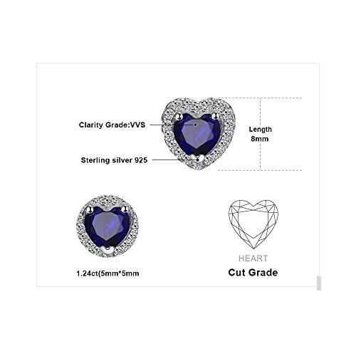 JewelryPalace Runde Herz Des Ozeans 1.2ct Synthetisch Blau Saphir Ohrstecker 925 Sterling Silber ohrring stecker - 2