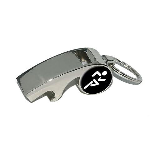 Course à Pied Jogging Marathon Symbole–Sifflet en métal plaqué Décapsuleur Porte-clés