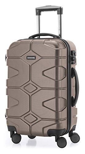 HAUPTSTADTKOFFER - X-Kölln – Valigia bagaglio a mano 55 cm, Trolley espandibile rigido, legero, ABS, TSA, 43-50 litri, Oro