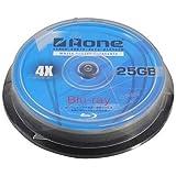 Aone BD-R Blu-ray 4x White Inkjet Printable Discs - 25GB - 10 Pack