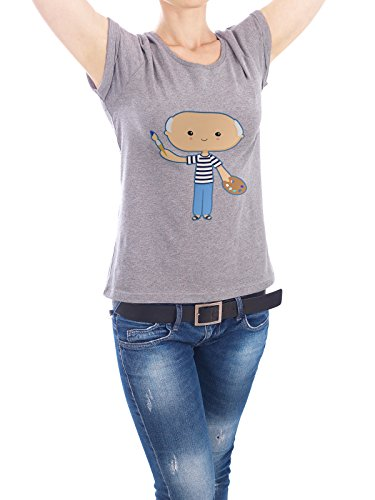 """Design T-Shirt Frauen Earth Positive """"Picasso"""" - stylisches Shirt Menschen von Cristina Castro Moral Grau"""