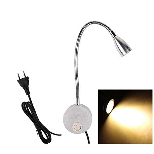 LED Nachttischlampe Bettleuchte, Schwanenhalsleuchte Flexleuchte Wandleuchte Leselampe, 3W Hell Nachtbeleuchtung mit Schalter für Kinder Schlafzimmer Wohnzimmer, Bettlampe Wandlampe von BLF (Silber - warmweiß)