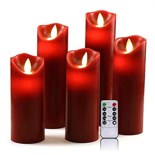 OSHINE LED Kerzen, Flammenlose Kerzen 300 Stunden Dekorations-Kerzen-Säulen im 5er Set (10,2 cm 12,7 cm 15,2 cm,17.8 cm,20.3 cm) rot Geeignet für Weihnachtsdekoration