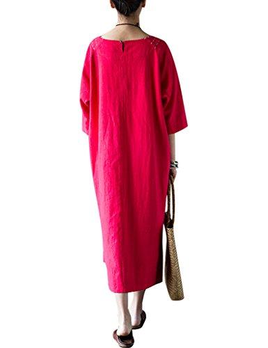 Youlee Donna Collare Rotondo Hi-low Hem Biancheria Vestito Rosso