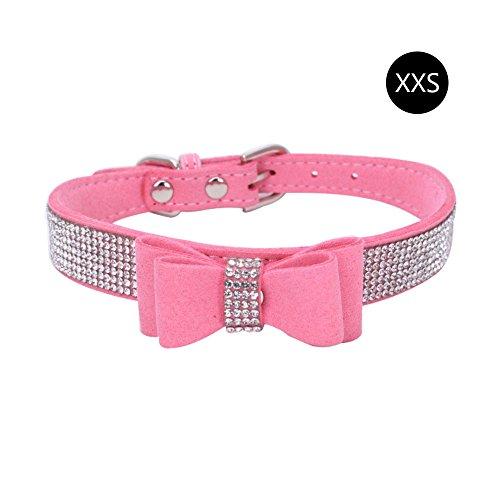 817b9b29838e HOBOYER Pet collari, Ctgvh strass in fibra di cuoio Bow cane gatto collare,  diamante scintillante catena del cane regolabile collare per cani taglia ...