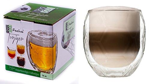 '1 x 350 ml double paroi verre au design de football, en verre thermique avec effet de flottement \\