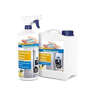 PROCaso Kühlschrank Hygiene Reiniger 1 Liter mit Zerstäuber + 2,5 Liter Nachfüllpack. Für Kühlschränke, Gefrierschränke, Kühltruhen und Kühltaschen. Einfach und schnell in der Anwendung