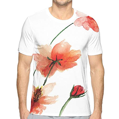 3D Printed T Shirts,Colorful Wildflowers with Vibrant Color Scheme Valentine Inspired Design S -