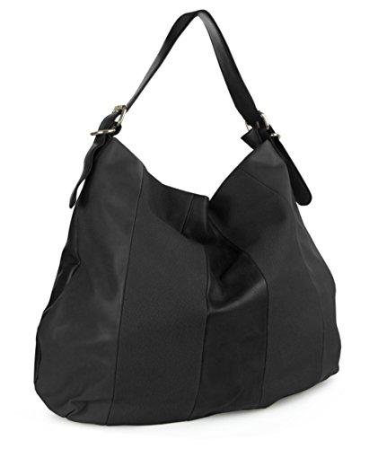 Lovely Lauri Shopper Beuteltasche zweifarbig klassisch Hobo Bag Schwarz (Hobo Klassische Bag)